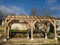 oak frame, timber frame, carpentry, carpenter, maison colombage, veranda, oak veranda, Dordogne, France, oak car port, traditional oak frame