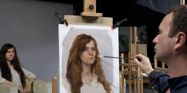 Valeria-in-studio-web sky arts portrait artist of the year