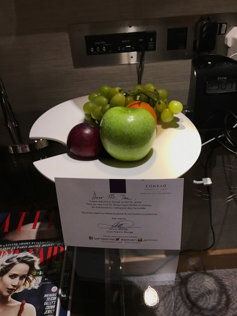 Conrad London welcome fruit