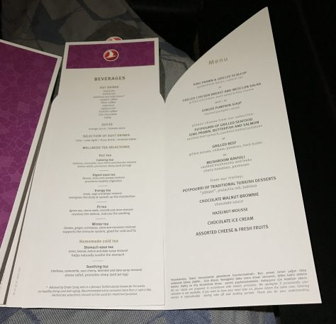 Turkish dinner menu