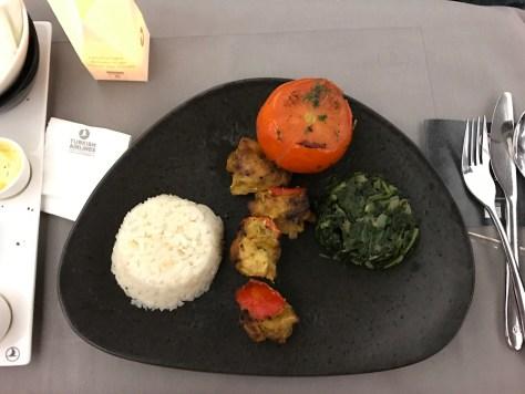 Turkish dinner spicy chicken skewer