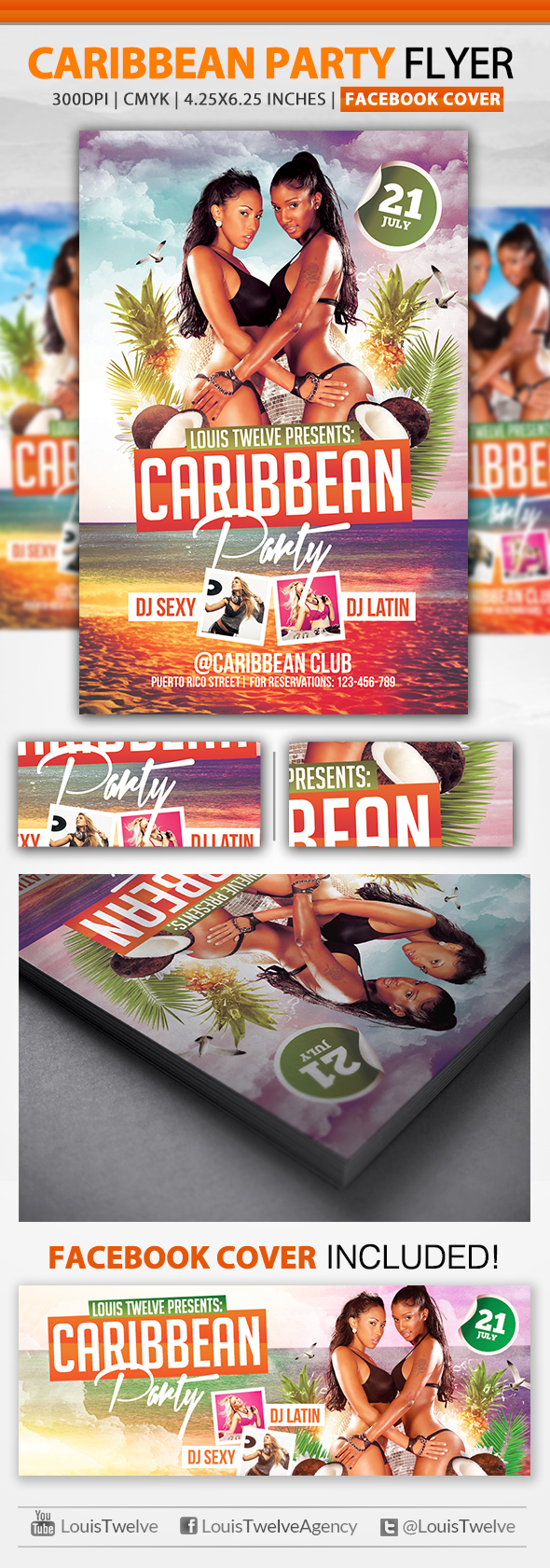Free Caribbean Party | Flyer Template + Facebook Cover | Louis Twelve