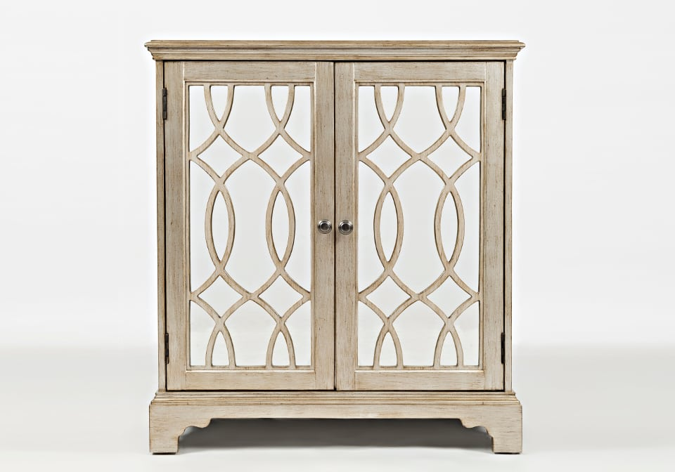 Casa Bella 32 Accent Cabinet Chestnut with Vintage Silver