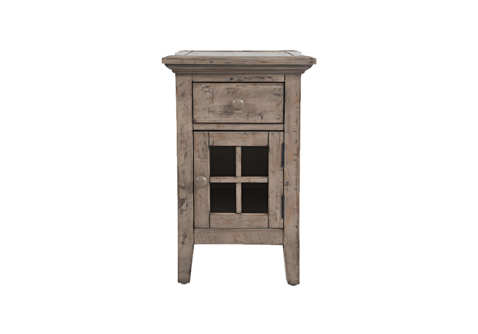 rustic shores weathered gray chairside end table