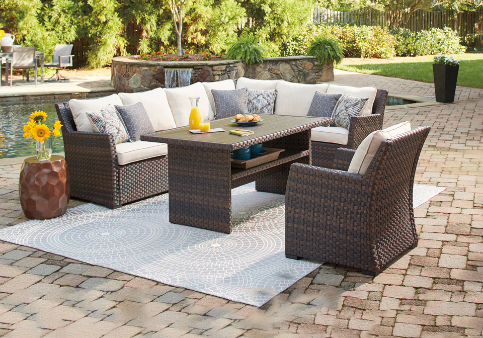 easy isle two tone 3pc outdoor lounge set