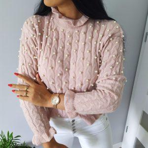 Pudrowy Sweterek - Perełki Lou Le Li