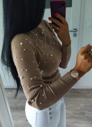 Sweterek perełki - beżowy Lou Le Li