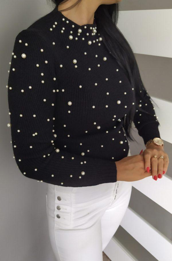 Sweterek perełki - czarny Lou Le Li