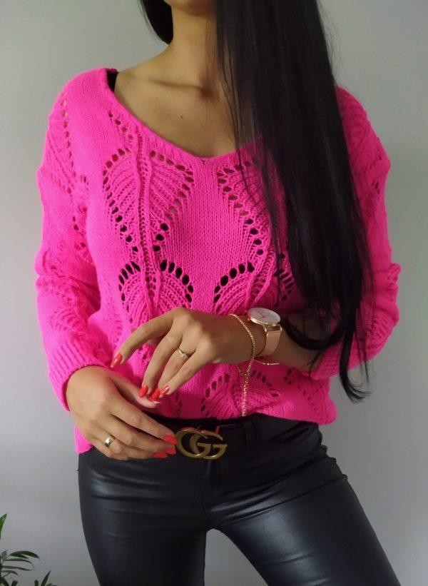 Sweterek listki - różowy Lou Le Li