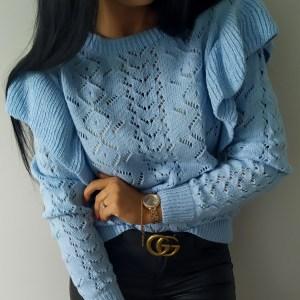 Sweterek falbanki błękitny Lou Le Li