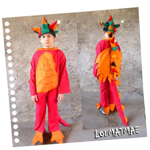 costume de dragon rouge et orange