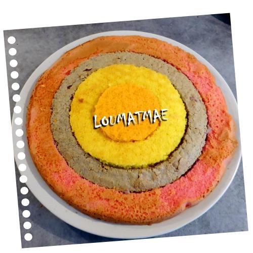assemblage du gâteau damier en 4 parties