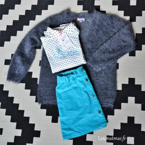 tenue prêt à porter fille avec jupe de chez Stockomani