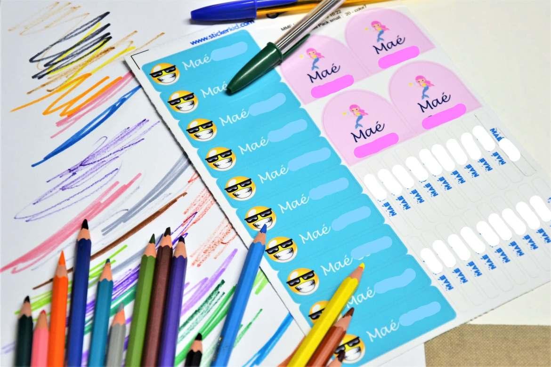 pack etiquettes personnalisées stickerkid pour fournitures scolaires