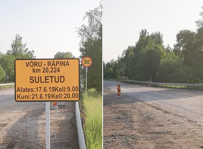 17-21. juuni Võru-Räpina mnt Leevi kohal suletud