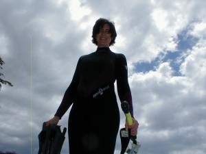 The happy author ready to snorkel wetsuit and all.