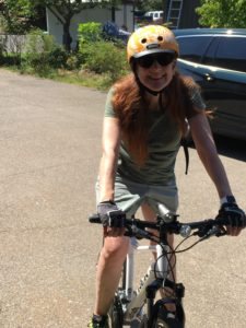 Lou Nell on new Trek bicycle.