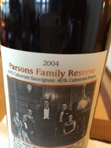RoxyAnn 2004 Parsons Family Reserve, close up of label