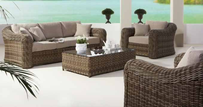 all weather wicker sofa leather sofas ashley furniture loungeset montpellier - outdoorinstyle
