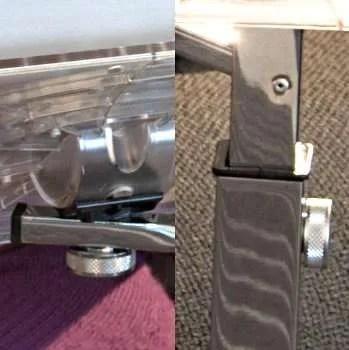 manopole regolazione altezza inclinazione e rotazione vassoio portanotebook