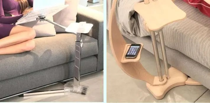 laptop stand with easy slip under furniture