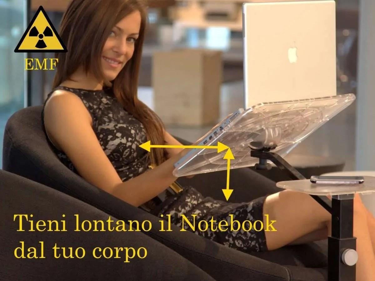 allontanare il notebook dal corpo per evitare radiazioni e rischio tumore, cancro alla pelle