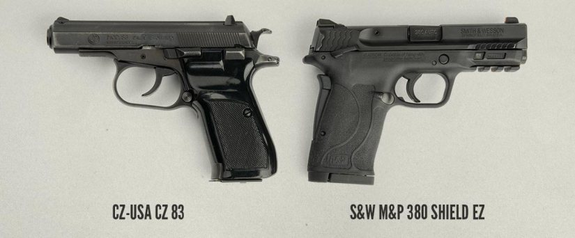 pistol size comparison of the CZ 83 and S&W M&P 380 Shield EZ Pistol