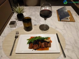 United Polaris Lounge Chicago O'Hare restaurant service: Seared rib eye