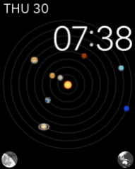 One of the many cool watch faces, 'Astronomy' enables you to zoom backwards and forwards through time using the digital crown, seeing all of the planets of the Solar System in their actual positions.