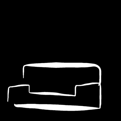 hand-drawn sketch of a white lounge on a black background
