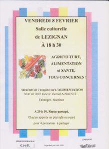 Lourdes/Lézignan : Réunion «Agriculture, Alimentation,  Santé, tous concernés !» le 8 février