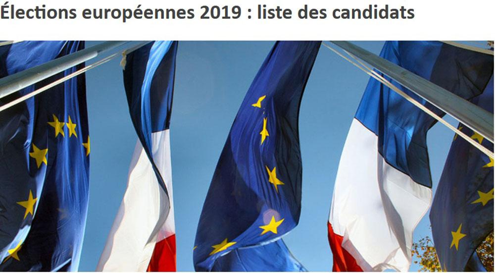 Communiqué du Ministère de l'Intérieur : Élections européennes 2019, liste des candidats
