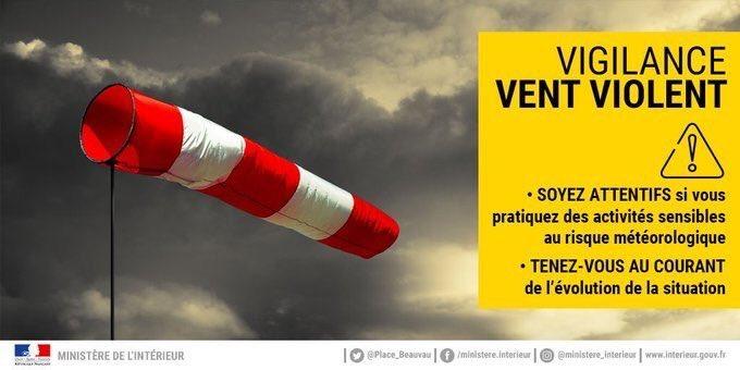 Communiqué de la Ville de Lourdes : Vigilance risque vent fort dans la nuit du 6 au 7 juin