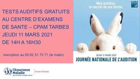 Read more about the article «Journée nationale de l'audition» le 12 mars 2021 : tests auditifs gratuits au Centre d'examens de santé de la CPAM 65