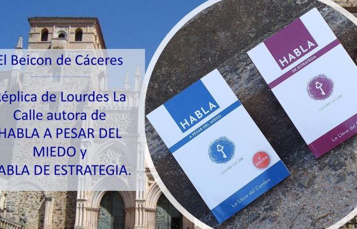 Replica de Lourdes La Calle autora de HABLA A PESAR DEL MIEDO Y HABLA DE ESTRATEGIA