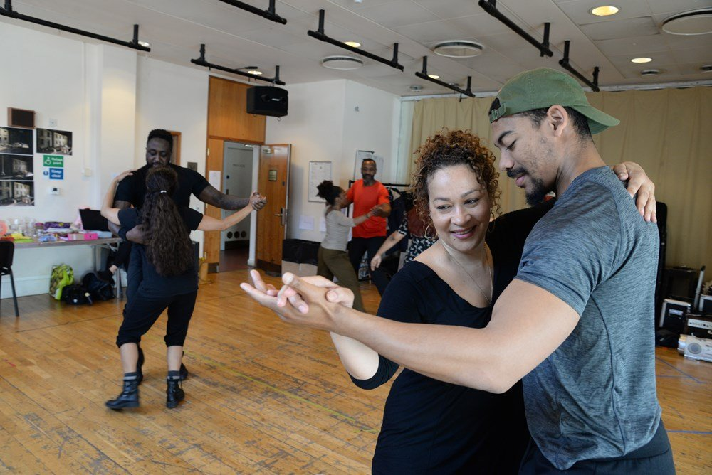 Dexter Flanders, Martina Laird, Aaron Pierre in rehearsal for King Hedley II
