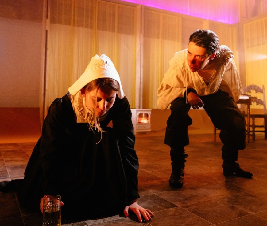 Sorcha Groundswell and Caoilfhionn Dunne in The Crucible. Photo by Helen Murray.