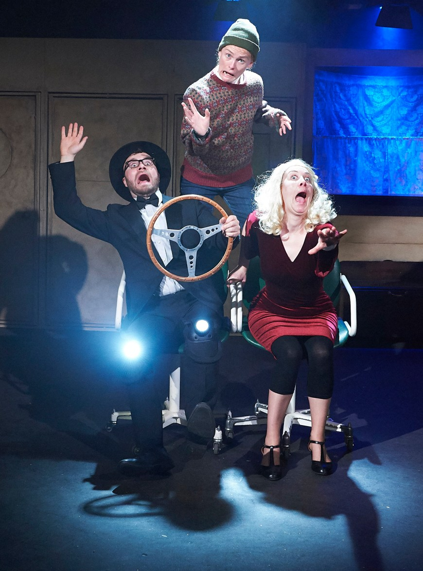 Fergus Leathem, Sian Eleanor Green and Samantha Sutherland as Himmel, Nick Diamond and Lauren Bacardi