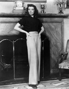 Katharine Hepburn in her signature look and slacks.