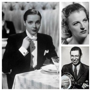From left, clockwise, Jessie Matthews in First a Girl, Gracie Fields, George Formby