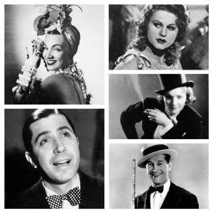 From top left, clockwise, Carmen Miranda, Marika Rokk, Marlene Dietrich, Maurice Chevalier, Carlos Gardel