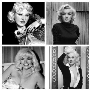 From top left, clockwise, Mae West, Marilyn Monroe, Jayne Mansfield, Mamie van Doren