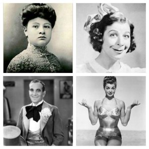 From left, clockwise, Sophie Tucker, Fanny Brice, Esther Wiliams, Al Jolson