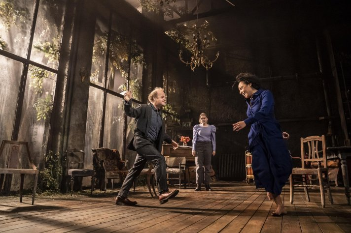 Toby Jones, Aimee Lou Wood and Rosalind Elezhar as Vanya, Sonya and Yelena.