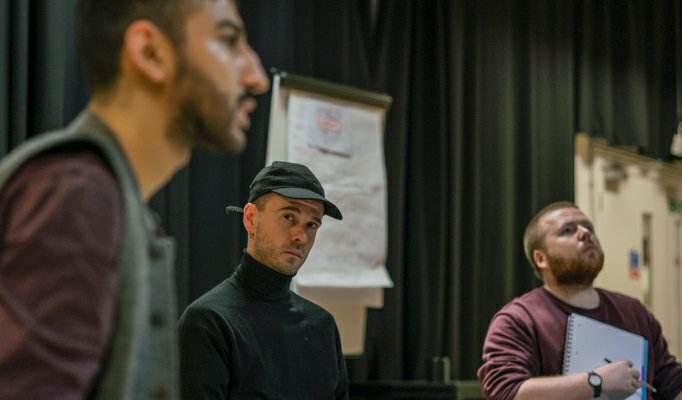 Manish Gandhi, James Haymer and Alistair Wilkinson in No Sweat rehearsals