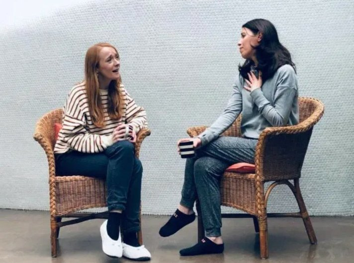 Stephanie Fuller and Joanna Nevin in rehearsals for About 500