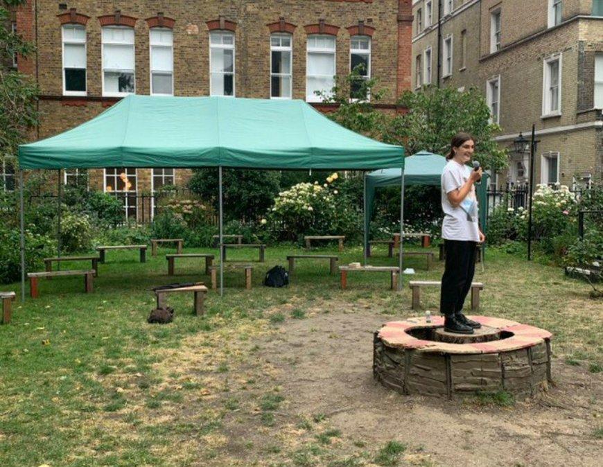 Evangeline Dickson rehearsing Peter Pan. Credit Iris Theatre Twitter.