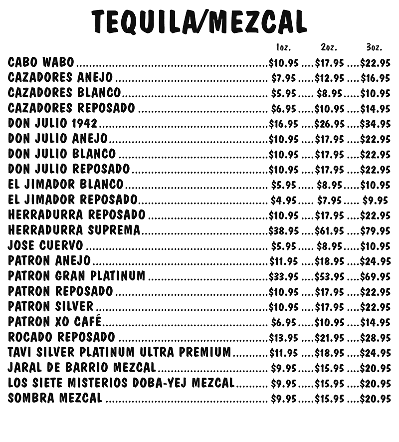 Tequila / Mezcal Menu
