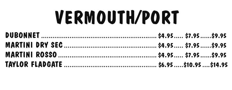 Vermouth / Port Menu