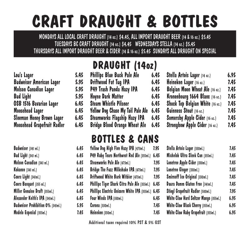 Craft Draught & Bottles Menu